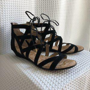 SAM EDLEMAN black suede gladiator sandals